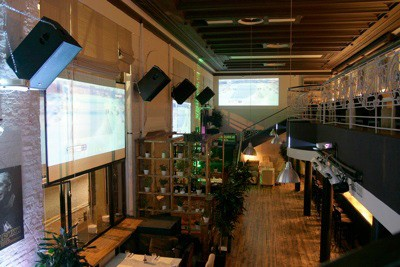 Stariki Bar, Moscow, Russia, tecnare loudspeakers mounted in wall