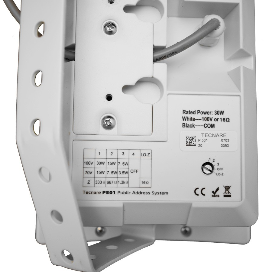 Tecnare P501 Wall Mount Loudspeaker back detail